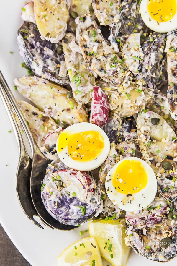 Everything Bagel Seasoned Grilled Potato Salad with 7 Minute Eggs-87