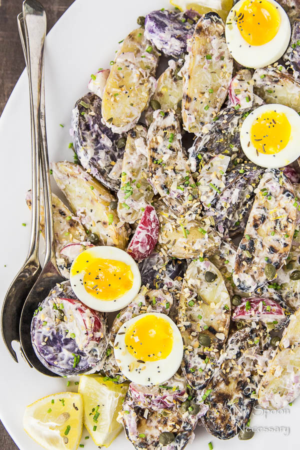 Everything Bagel Seasoned Grilled Potato Salad with 7 Minute Eggs-95