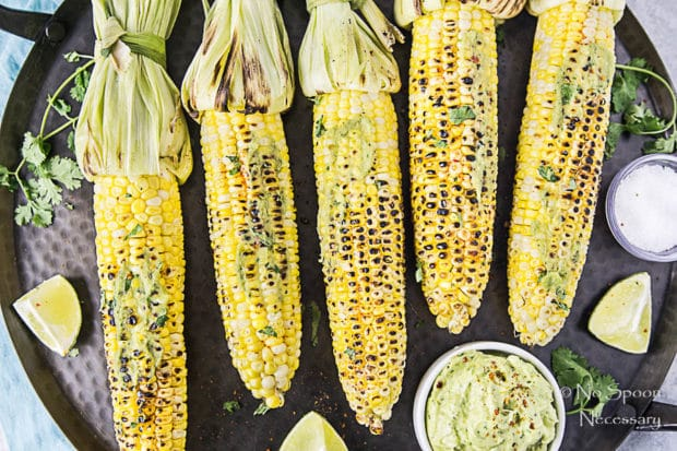 Grilled Corn on the Cobb with Avocado-Sriracha Butter-279