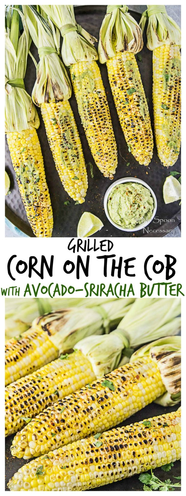 Grilled Corn on the Cobb with Avocado-Sriracha Butter-long pin1