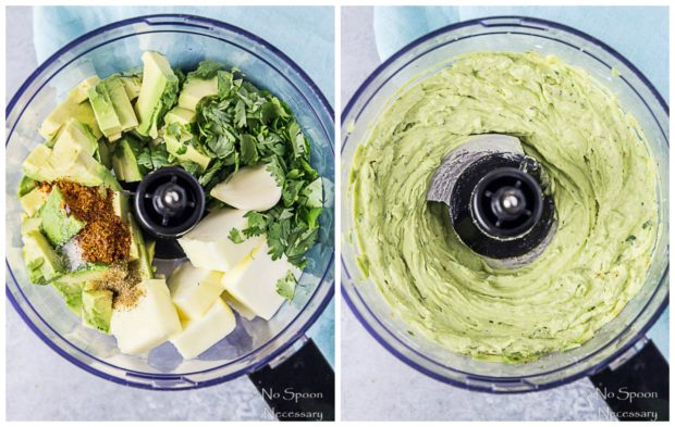 Side by side prep shots of Avocado Sriracha Butter. First photo is all the ingredients for Avocado sriracha butter in a food processor and the second photo is the butter after blending - step 1 in the recipe how to make Grilled Corn with Avocado Sriracha Butter.
