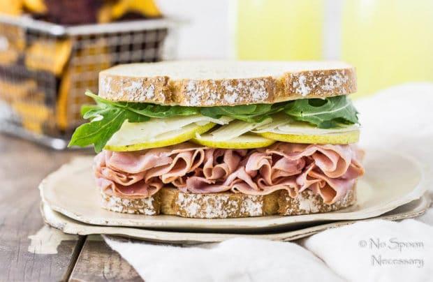 Ham pear sandwich with arugula manchego 45