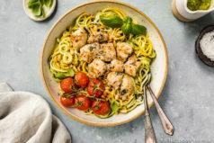 Basil Garlic Chicken & Pesto Zucchini Noodles