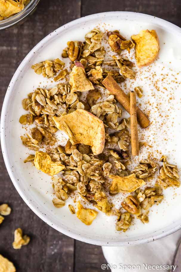 Overhead shot of a white speckled bowl filled with yogurt and topped with Cinnamon Apple Pie Granola, apple chips and ground cinnamon