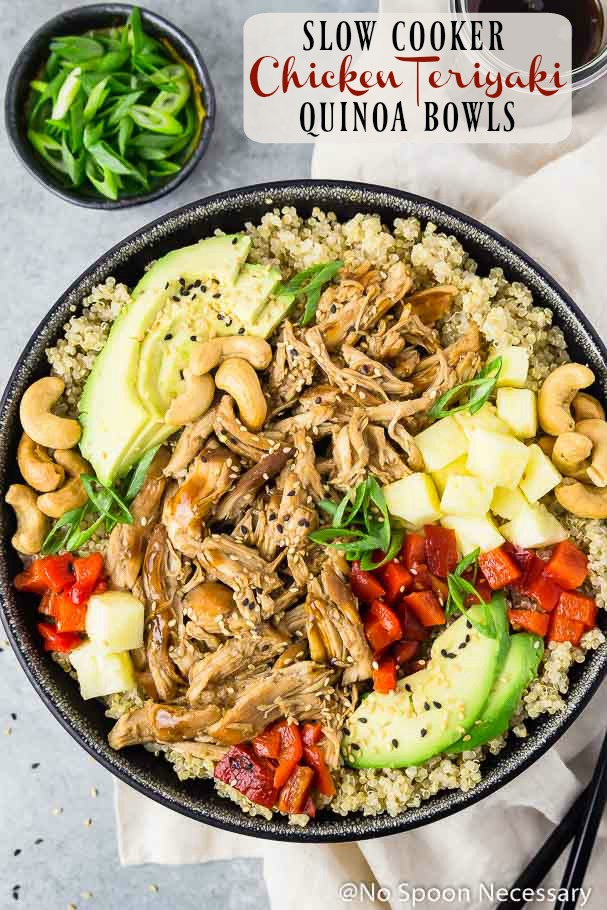 Slow Cooker Chicken Teriyaki Quinoa Bowls No Spoon Necessary