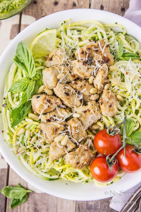 Basil Garlic Chicken & Summer Squash Noodles with Pesto-101