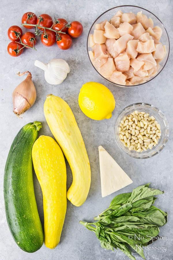 Basil Garlic Chicken & Summer Squash Noodles with Pesto-11