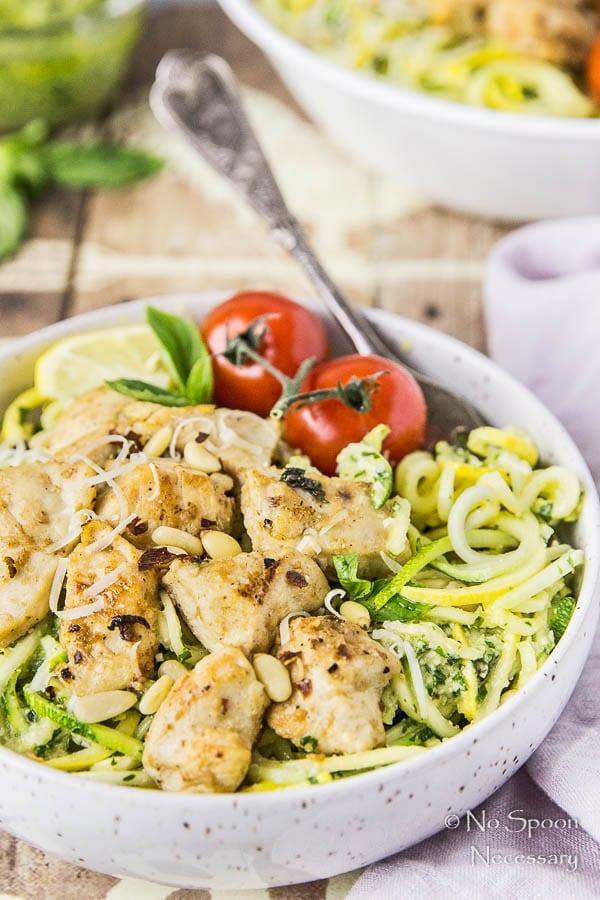 Basil Garlic Chicken & Summer Squash Noodles with Pesto-199