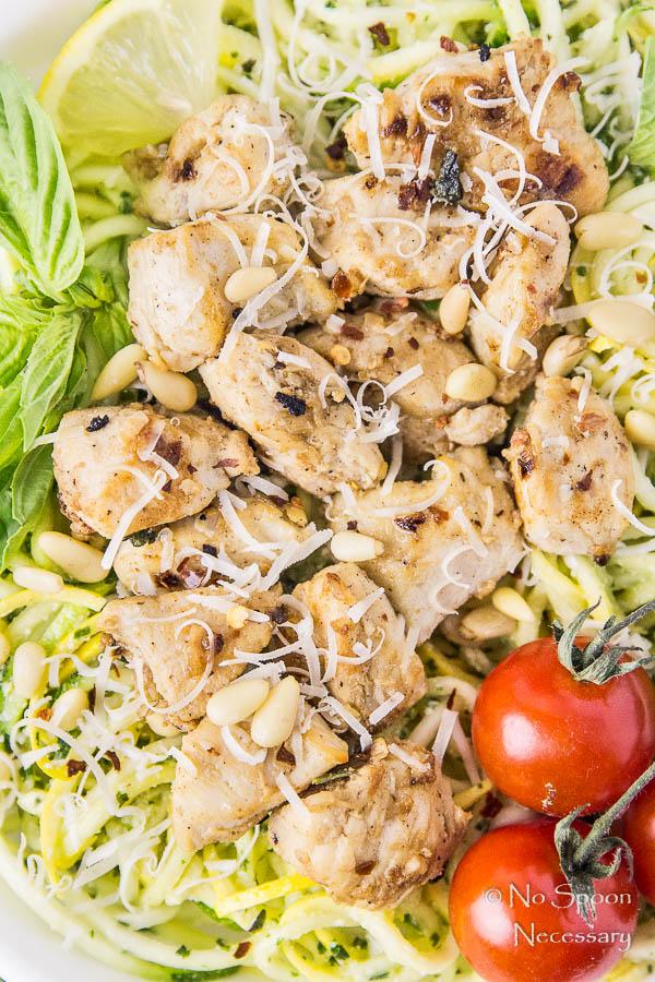 Basil Garlic Chicken Stir Fry with Squash Noodles & Pesto - No Spoon ...