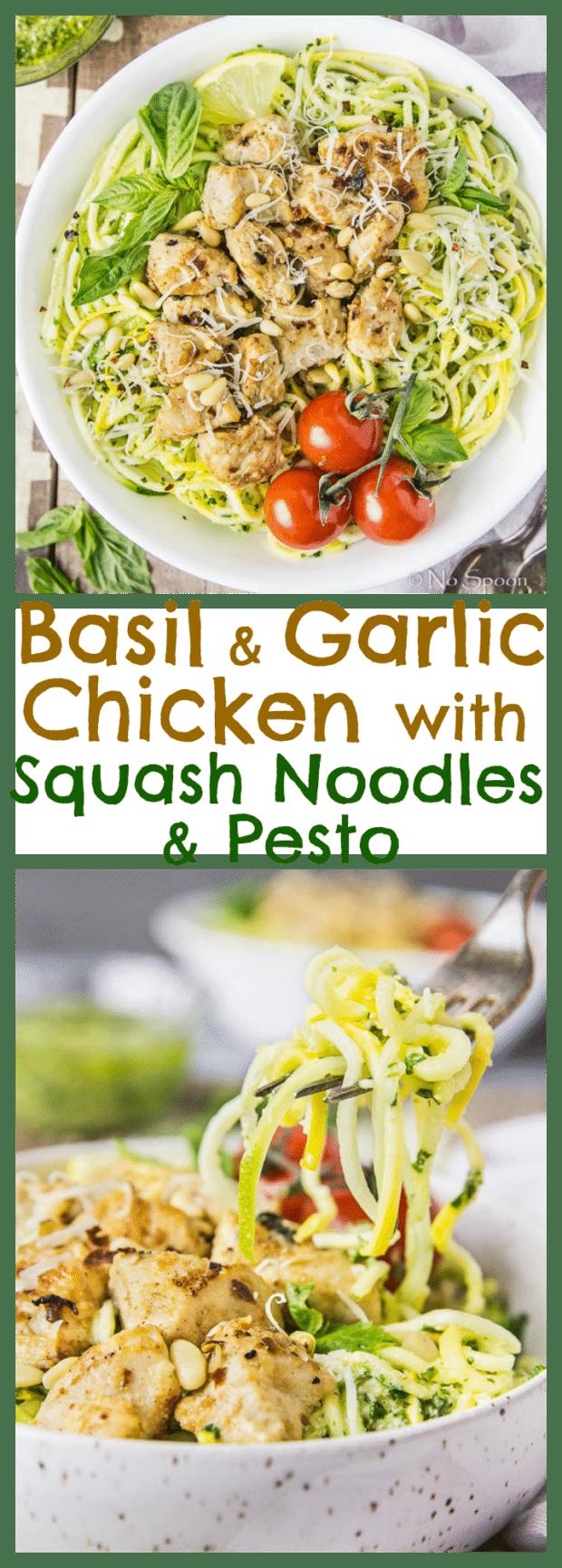 Garlic-Basil Chicken & Summer Squash Noodles with Pesto- long pin1