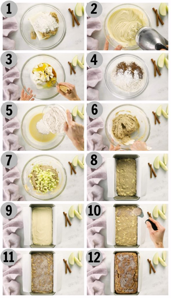 Overhead photo collage of step by step photos how to make apple bread.