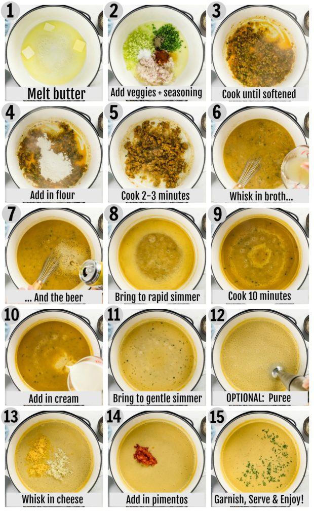 Overhead photo collage of how to make beer cheese soup step by step with written instructions on each step.