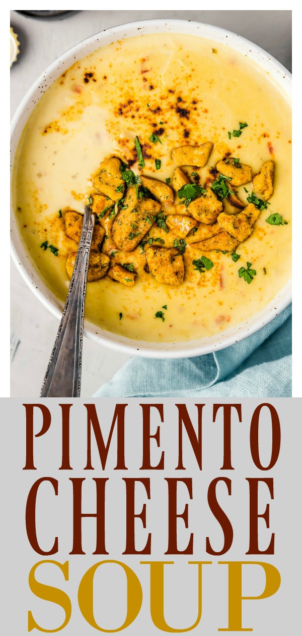 Easy Beer Pimento Cheese Soup | This soup is a southern spin on classic beer cheese soup. Perfectly creamy, cheesy, studded with sweet pimentos and accentuated with rich beer flavor, this soup is perfect for an easy, comforting dinner and also makes a great addition to your game day soiree! #soup #vegetarian #recipe #beer #cheese