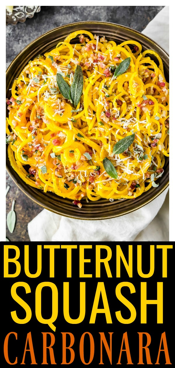 If you like carbonara, but don't loveall the calories, this Butternut Squash Noodle Carbonara is for you! Crisp butternut squash noodles coated in a silky, cheesy, carbonara sauce and tossed with pancetta and fresh sage, this dish is easy, comforting, healthy and perfect for fall! #butternut #squash #veggie #noodle #carbonara #healthy #recipe