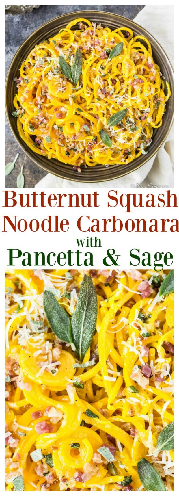 Butternut Squash Noodle Carbonara with Pancetta and Sage