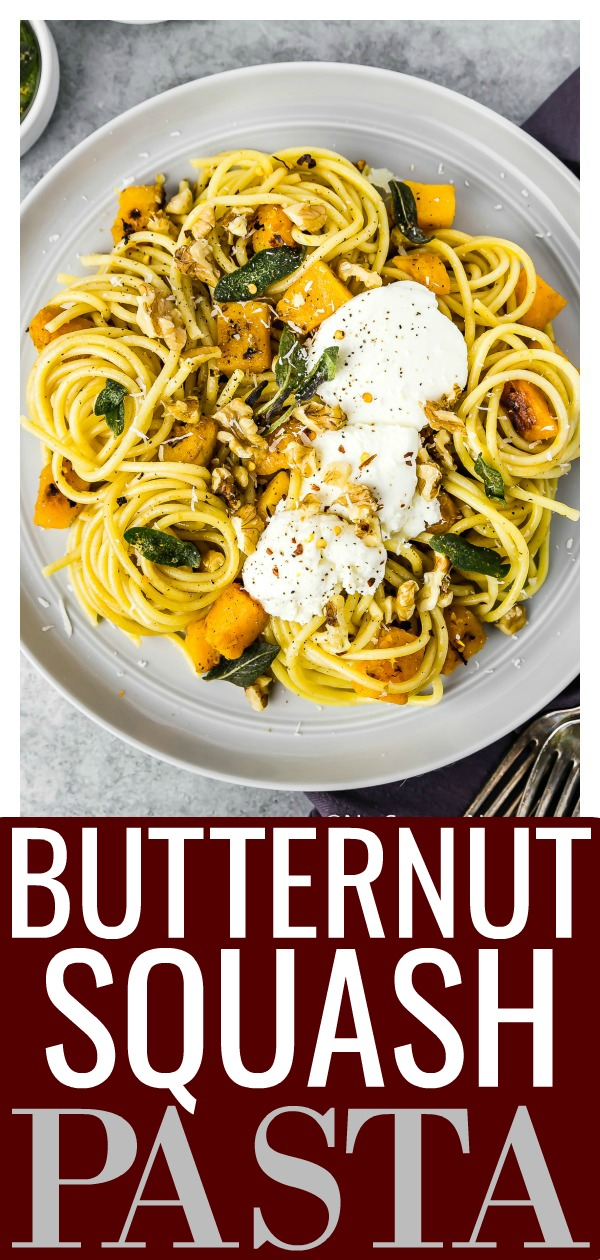 This Sage Brown Butter Butternut Squash Pasta topped with ricotta, walnuts and crispy sage leaves is ridiculously easy to make and even easier to devour!  #sage #brown #butter #squash #pasta #easy #recipe #vegetarian