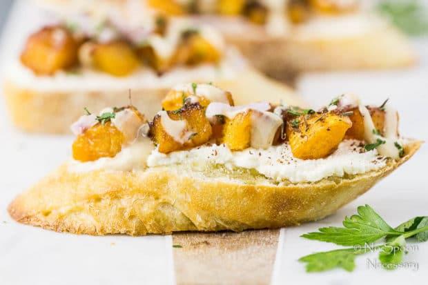 Caramelized Butternut Squash Crostini with Whipped Feta, Za'atar & Tahini