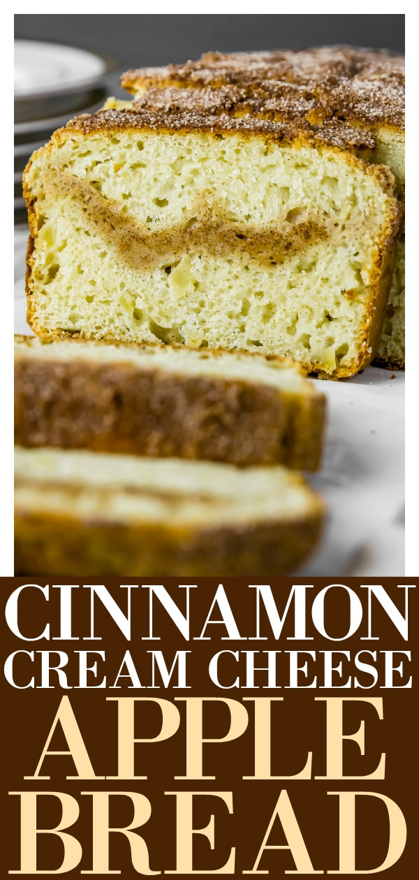 Cinnamon Cream Cheese Filled Apple Bread | Moist tender bread studded with chunks of real apples; warm cinnamon spice and filled with a subtle streak of rich cream cheese. This bread is a tastes like an apple snickerdoodle and is sweet, savory and 100% spectacularly delicious! #cinnamon #apple #bread #easy #recipe #vegetarian