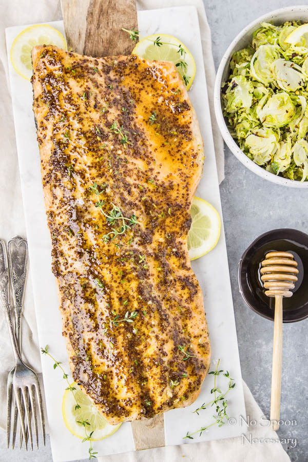 Sheet Pan Dijon & Honey Glazed Salmon with Brussels Sprouts