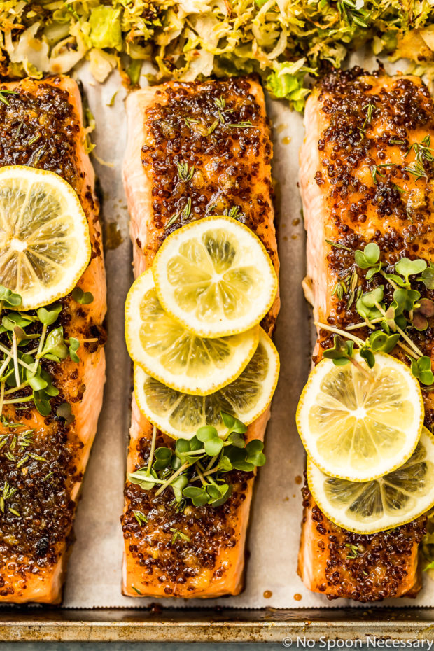 Overhead, up-close shot of Baked Honey Dijon Salmon topped with slices of lime and microgreens with Brussels Sprouts surrounding the salmon on a sheet pan.