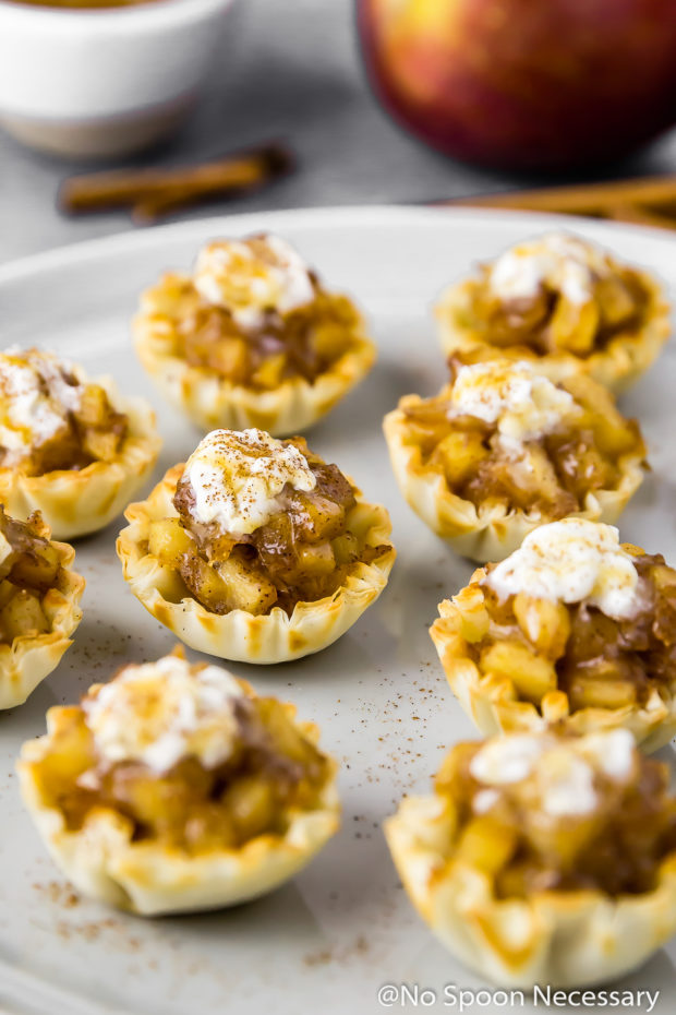 45 degree angle shot of Easy Apple Pie Bites topped with whipped cream and salted caramel sauce on a gray plate with cinnamon sticks, an apple and ramekin of caramel sauce blurred in the background.