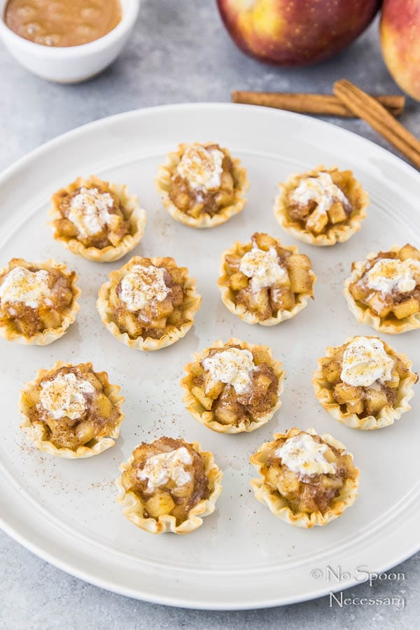Bourbon Apple Pie Bites with Whipped Cream & Salted Caramel