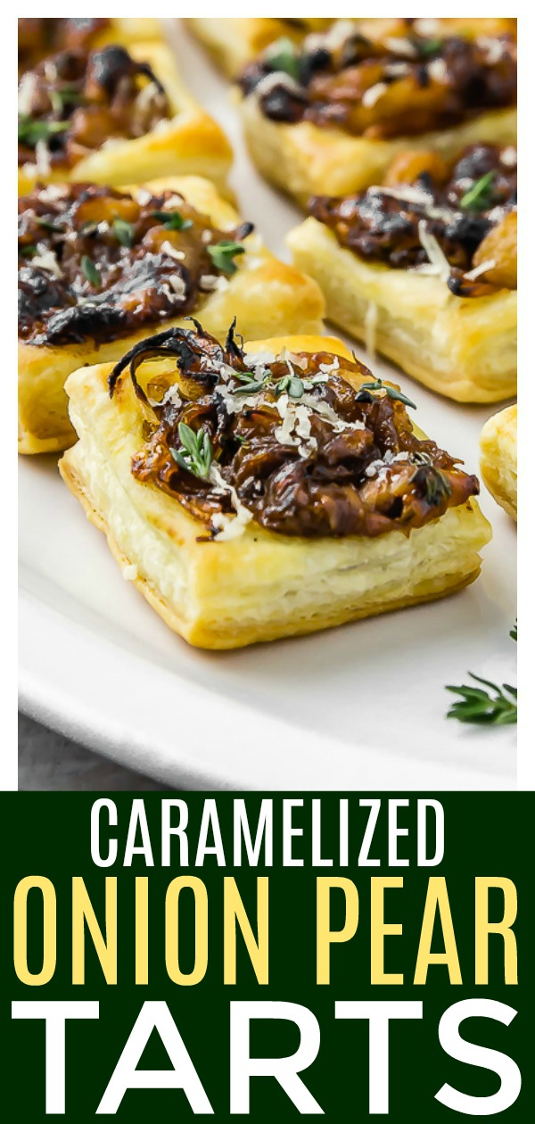 These Caramelized Onion Pear Tartsare the perfectway to start your holiday parties! Flaky puff pastry topped with smoky, caramelized onions, sweet pears, earthy thyme and decadent gorgonzola and gruyere cheeses. #caramelized #onion #pear #puffpastry #vegetarian #tarts #recipe