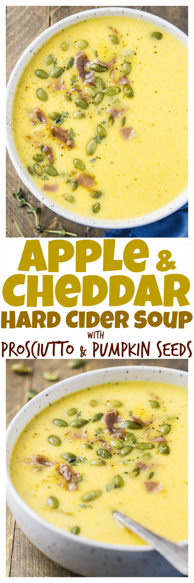 Apple & Cheddar Hard Cider Soup with Prosciutto & Pumpkin Seeds