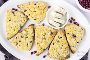 Cranberry & Pomegranate Tea Scones {with Cranberry Vanilla Butter}