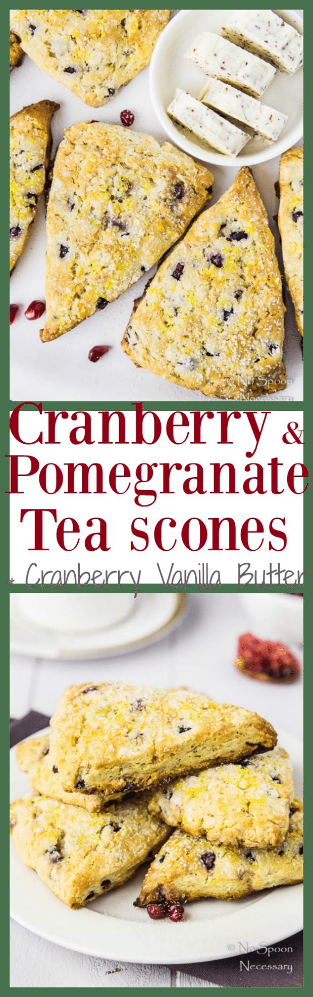 Cranberry & Pomegranate Tea Scones with Cranberry Vanilla Butter
