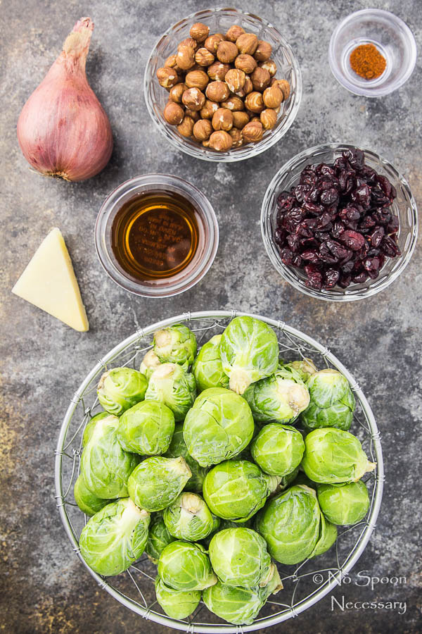 Maple Roasted Brussels Sprouts with Cranberries & Hazelnuts
