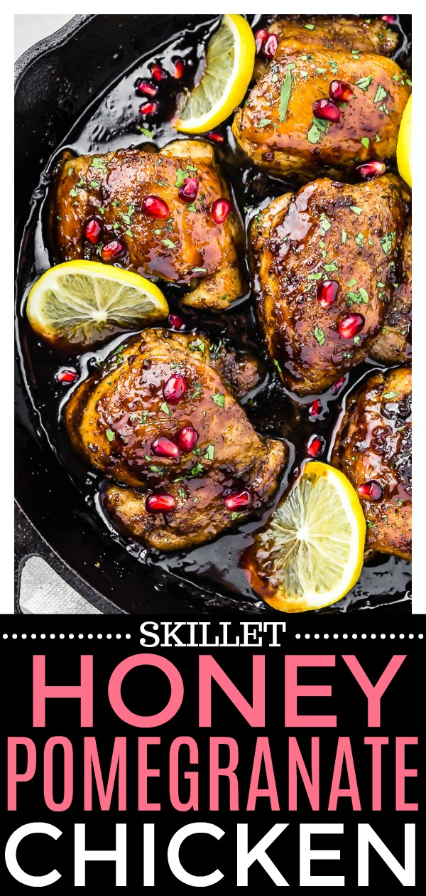 Skillet Honey Pomegranate Chicken Thighs | Tender, golden brown chicken thighs smothered in a smooth, sweet and tart honey-pomegranate sauce. This dish requires minimal ingredients and effort, making this dish perfect for entertaining or easy, weeknight meals! #chicken #honey #pomegranate #skillet #onepan #easy #recipe