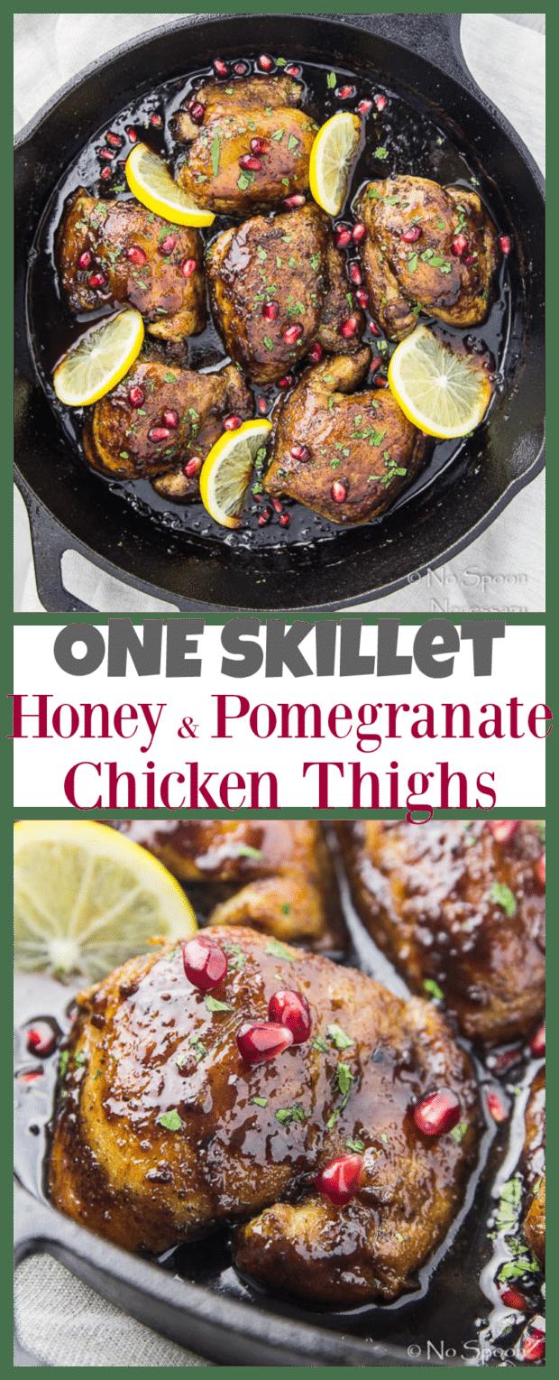 One Skillet Honey & Pomegranate Chicken Thighs