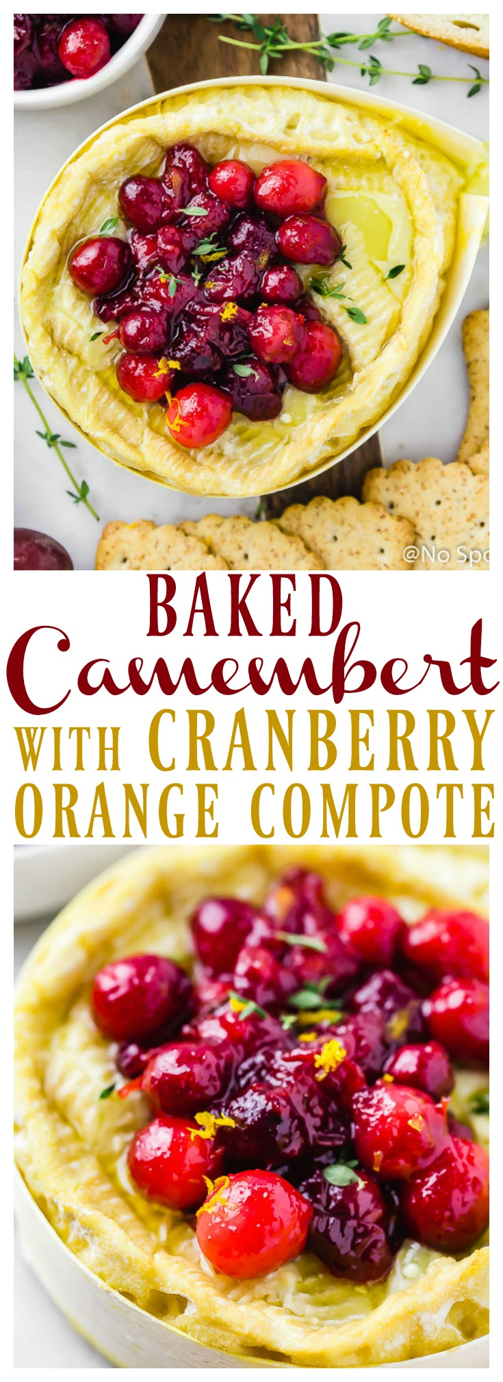 Baked Camembert with Cranberry & Orange Compote + recipe video   Warm, oozy Baked Camembert topped with Cranberry & Orange Compote is easy, yet elegant and guaranteed to please! Add this festive and fun appetizer to your holiday line up!  #easy #holiday #Christmas #NewYear #appetizer #cheese #camembert #Brie #baked #compote #cranberry #orange #recipe #vegetarian