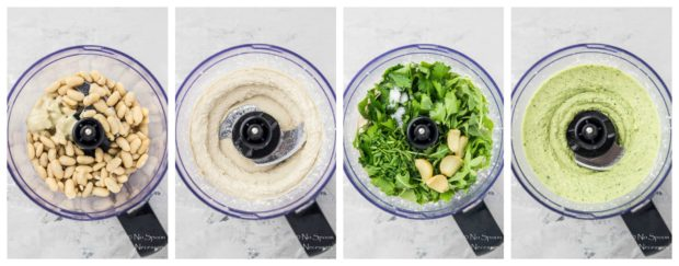 Overhead shot slides of the four steps to make holiday Hummus (arugula and roasted garlic white bean hummus) in the bowl of a food processor.