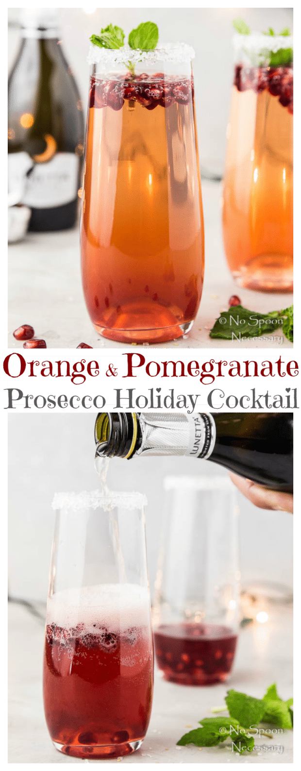 Orange & Pomegranate Prosecco Holiday Cocktail