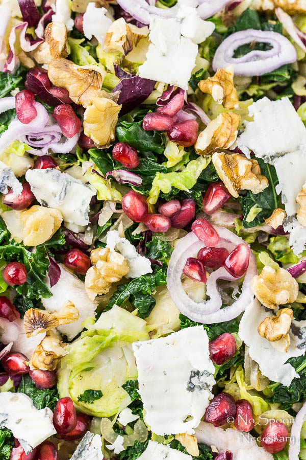 Warm Brussels Sprouts & Kale Salad with Gorgonzola, Pomegranate & Radicchio