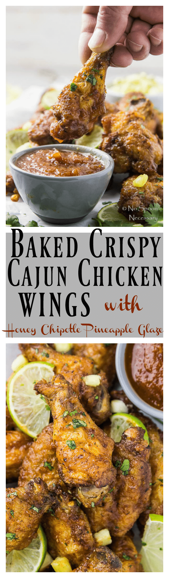 Baked Crispy Cajun Chicken Wings with Honey Chipotle Pineapple Glaze-long pin3