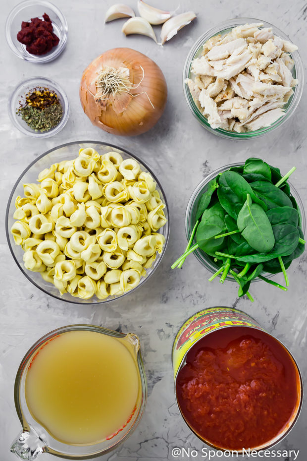 Overhead shot of all the ingredients to make Easy Chicken, Spinach & Tortellini Tomato Soup neatly organized in bowls on a gray surface.
