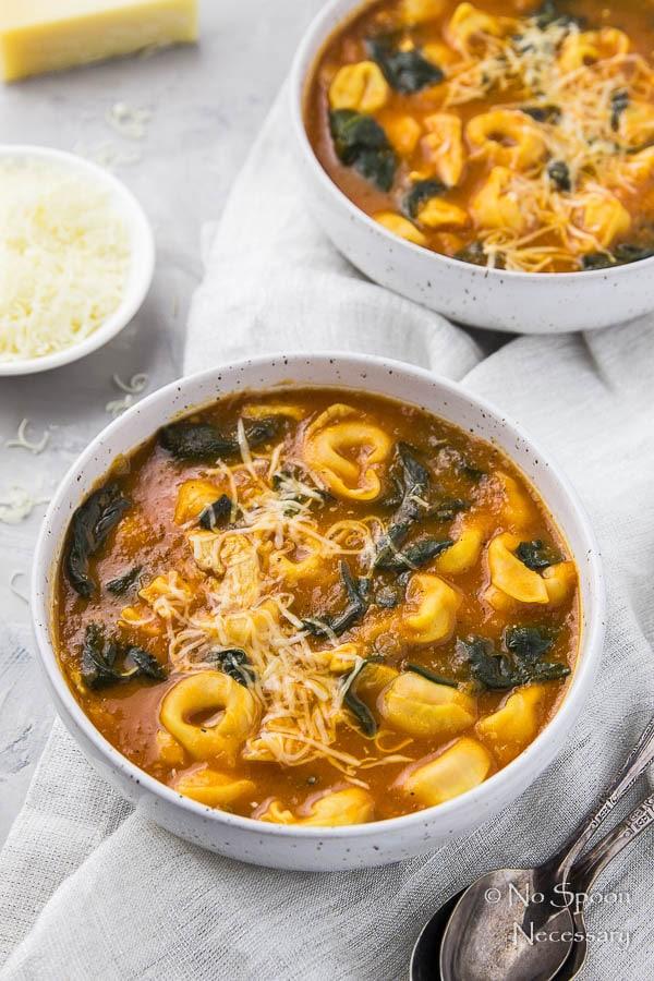 Easy Chicken, Spinach & Tortellini Tomato Soup