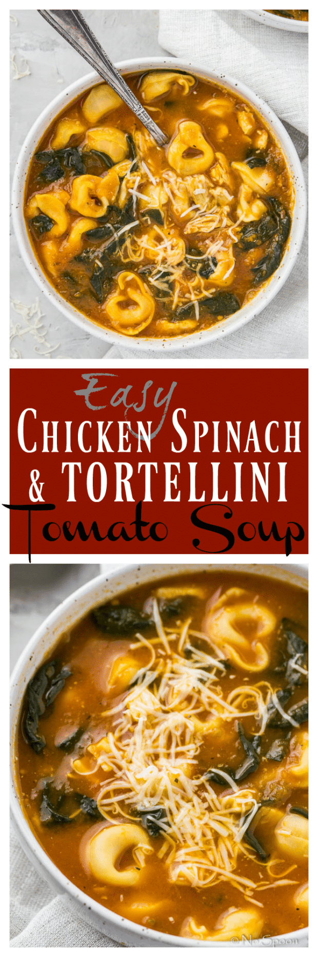 Easy Chicken, Spinach & Tortellini Tomato Soup-long pin5