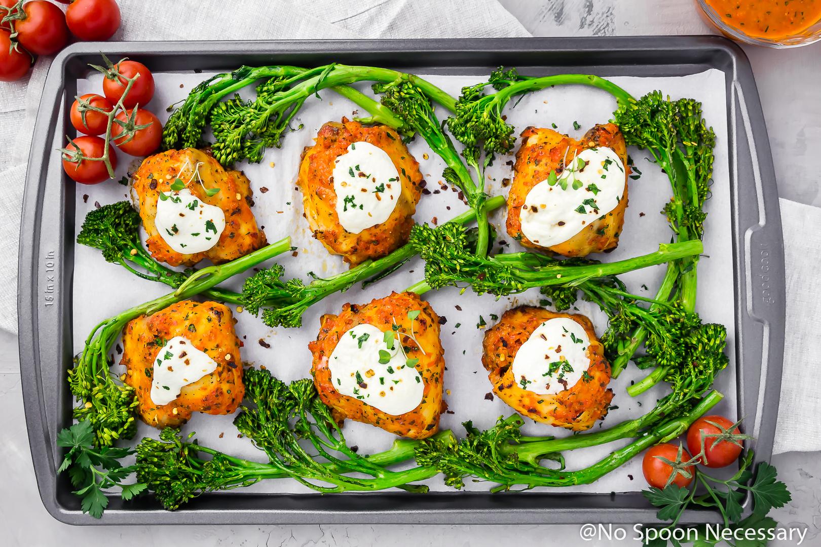 Sheet Pan Broccoli Chicken Fra Diavolo [recipe video]
