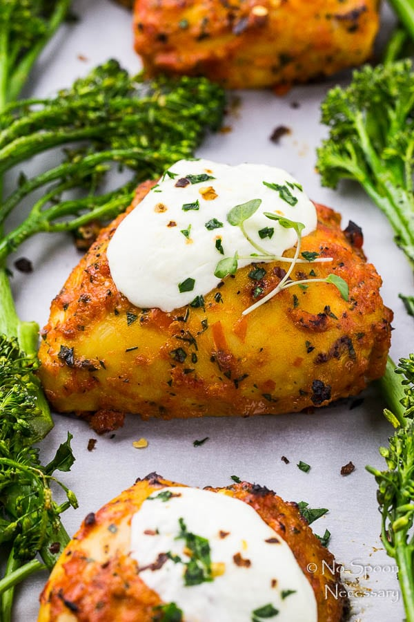 Sheet Pan Chicken Fra Diavolo with Burrata & Broccolini