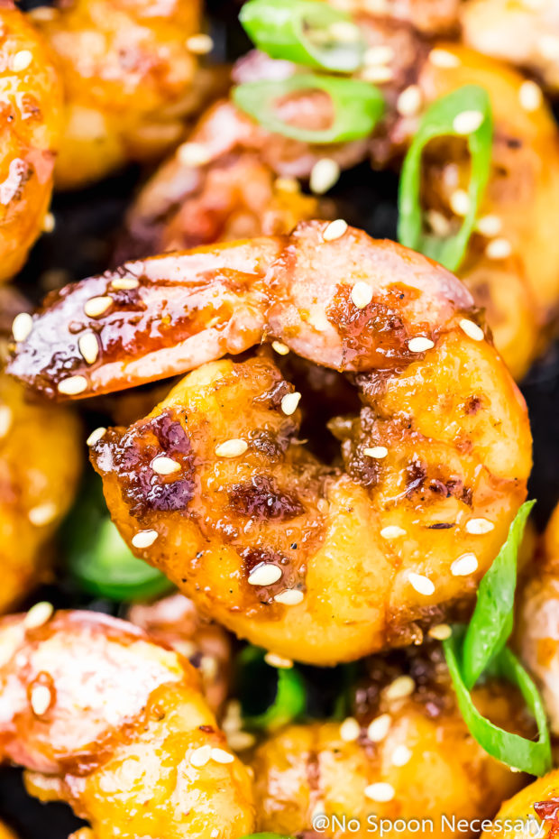 Overhead, up-close shot of a Spicy Honey Glazed Skillet Shrimp garnished with sesame seeds and sliced scallions.
