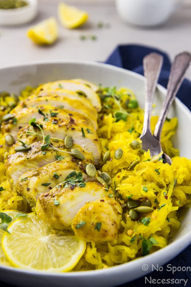 Baked Curried Chicken & Spaghetti Squash {Sheet Pan}