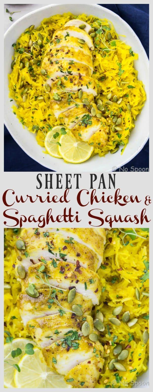 Baked Curried Chicken & Spaghetti Squash {Sheet Pan}