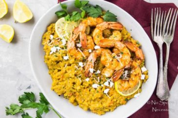 Goat Cheese & Red Pepper Baked Risotto with Shrimp