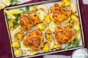 Sheet Pan Harissa Chicken with Onions and Potatoes