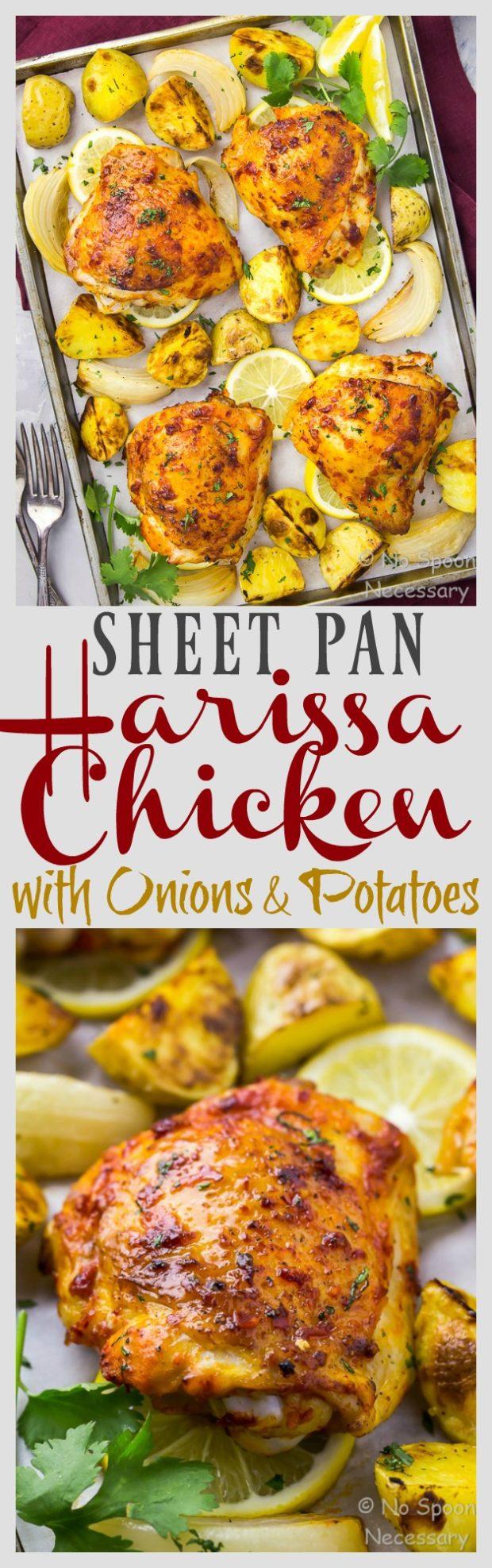 Sheet Pan Harissa Roasted Chicken Thighs, Potatoes & Onions