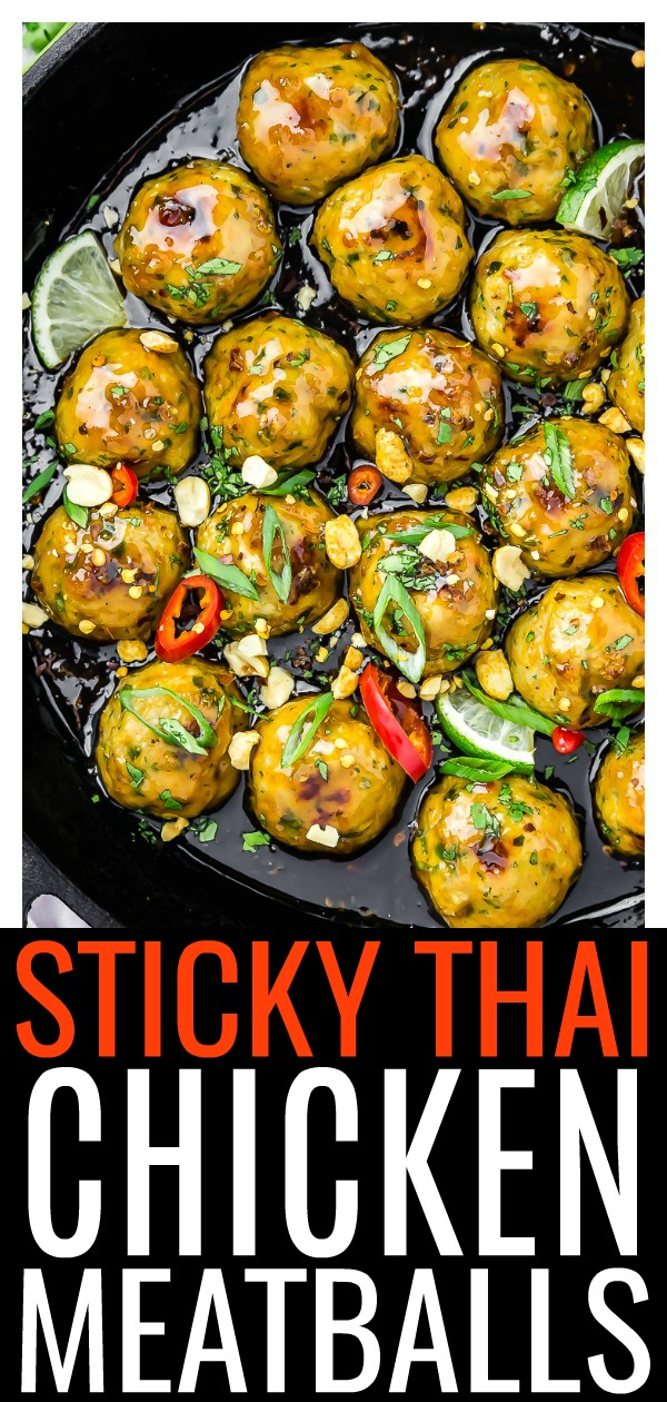These Baked Sticky Thai Chicken Meatballs are juicy, tender and bursting with savory flavor. Baked for convenience and coated in a sticky, slightly sweet Thai sauce, these meatballs are perfect for game day, as an appetizer when entertaining, or for dinner! #baked #Thai #chicken #meatballs #easy #recipe